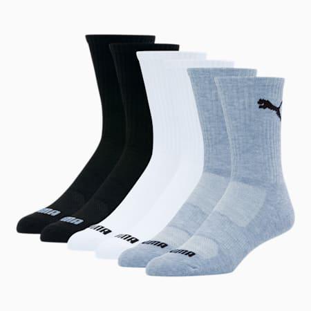Men's Crew Socks [6 Pack], LT PASTEL GREY, small